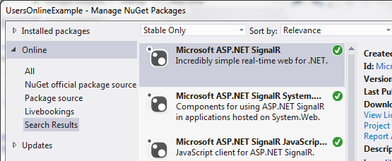 SignalR Nuget Package