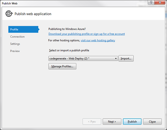 Publish Settings Visual Studio 2012
