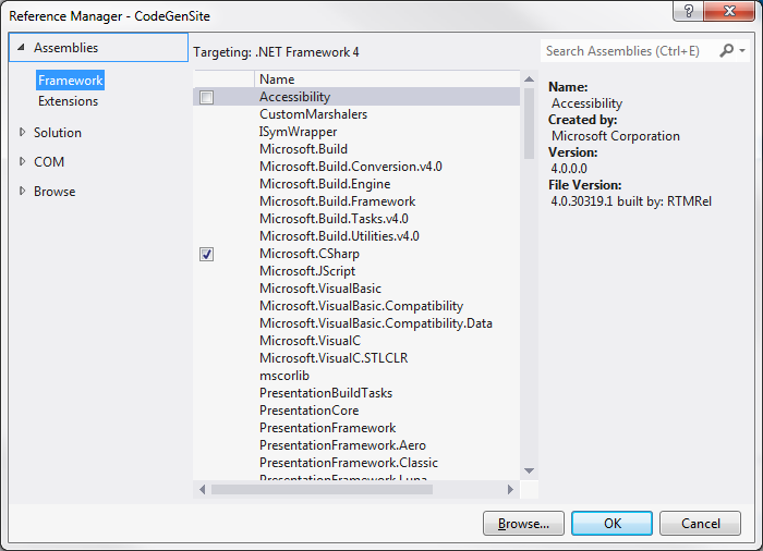 Visual Studio 2012 Reference Manager