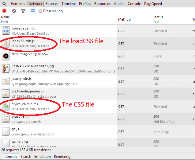 loadCSS Developer Tools Asynchronous CSS